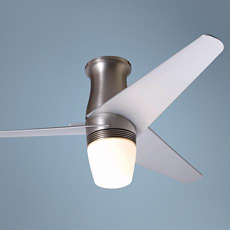 "50"" Velo Bright Nickel Hugger Ceiling Fan with Light Kit"