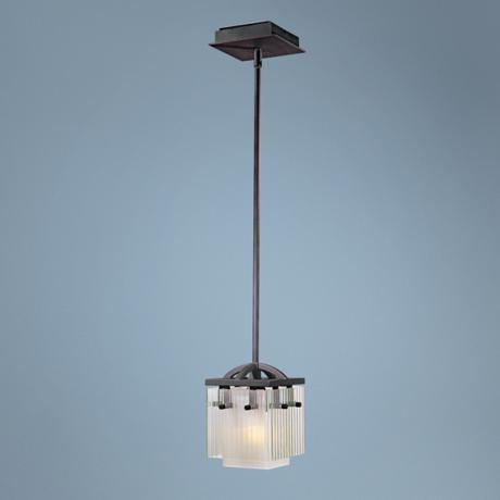 "George Kovacs Fluted Glass 6 3/4"" Wide Mini Pendant Light"
