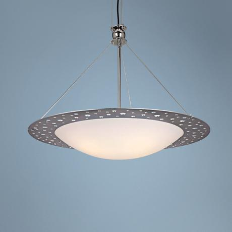 "George Kovacs Stainless Steel Rim 33 3/4"" Wide Pendant Light"