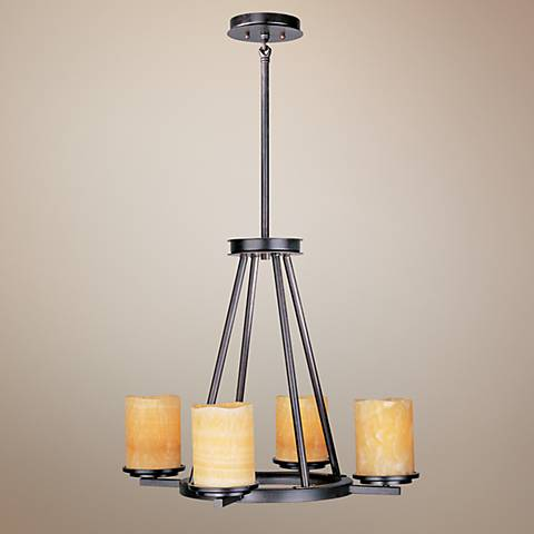 "Luminous Rustic Ebony Finish 4-Light 24"" Wide Chandelier"