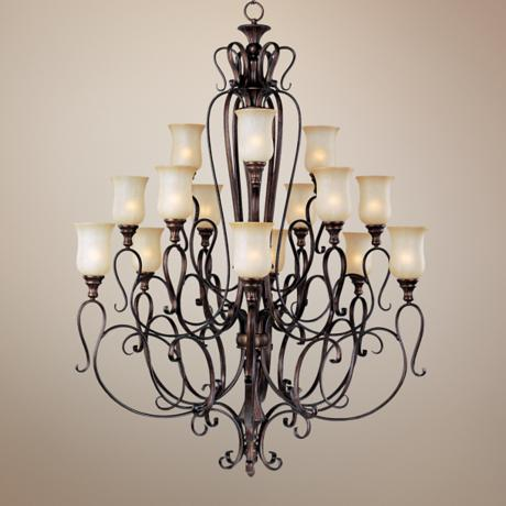 "Sausalito Filbert Finish 49"" Wide 15-Light Chandelier"