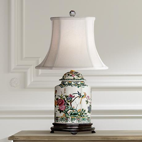 Green Floral Porcelain Scalloped Tea Jar Table Lamp