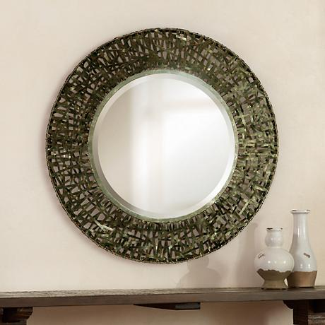 "Uttermost Woven Metal 36"" Wide Round  Wall Mirror"