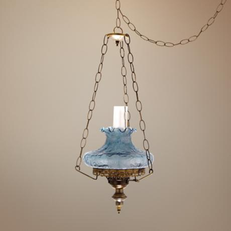Blue Crackle Tamoshanta Plug-in Swag Chandelier
