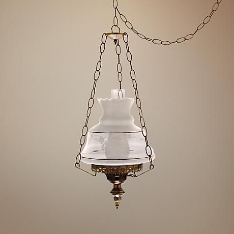 "Victorias Window 13"" Wide Plug-in Swag Chandelier"