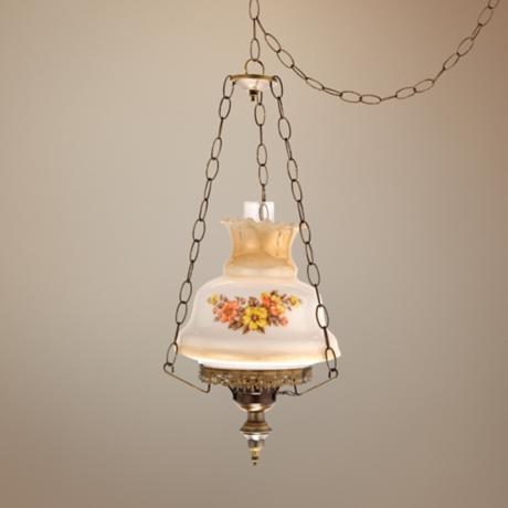 "Earthtone Window 13"" Wide Plug-in Swag Chandelier"