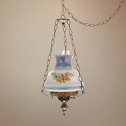 "Pink and Blue Floral 13"" Wide Plug-in Swag Chandelier"