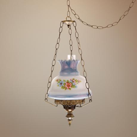and blue floral 13 wide plug in swag chandelier j7122 lamps plus. Black Bedroom Furniture Sets. Home Design Ideas