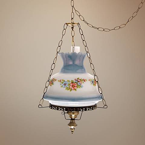 "Floral Blue Glass 17"" Wide Plug-in Swag Chandelier"