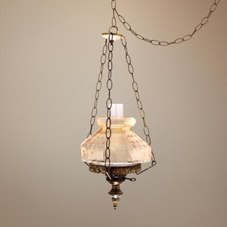 "Amber Rhombus Octagon 13"" Wide Swag Plug-In Chandelier"