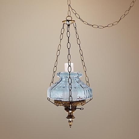 "Blue Rhombus Octagon 13"" Wide Plug-in Swag Chandelier"
