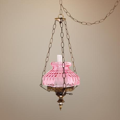"Pink Rhombus Octagon 13"" Wide Plug-in Swag Chandelier"