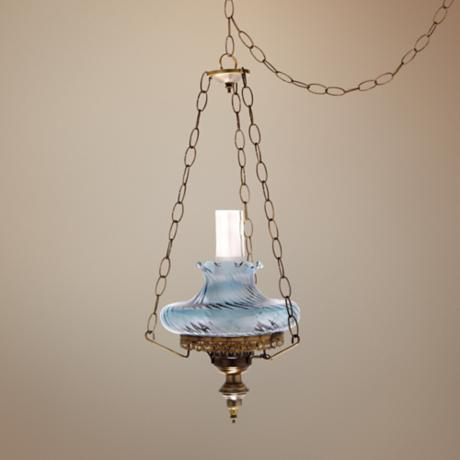 "Blue Swirl Tamoshanta 13"" Wide Plug-in Style Swag Chandelier"
