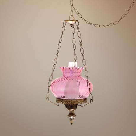 "Pink Swirl Student 13"" Wide Plug-in Style Swag Chandelier"