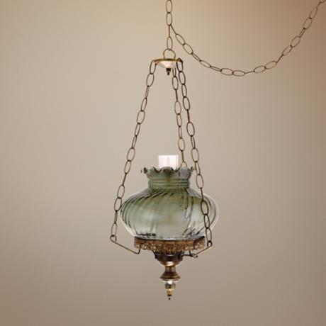 "Victorian Swirled Glass 13"" Wide Plug-in Swag Chandelier"