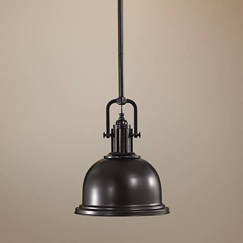 "Feiss Parker Place Solid Dark Bronze 13"" Wide Pendant Light"