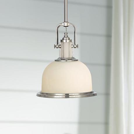 "Feiss Parker Place Brushed Steel 13"" Wide Pendant  Light"
