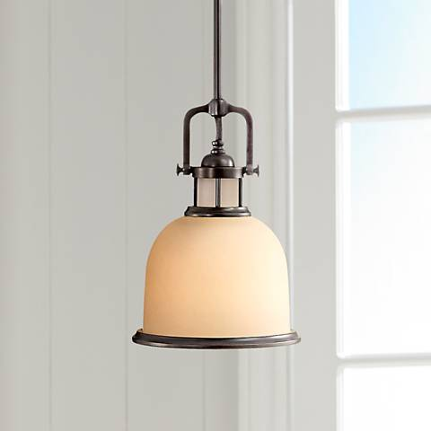 "Feiss Parker Place Dark Bronze 8"" Wide Mini Pendant  Light"