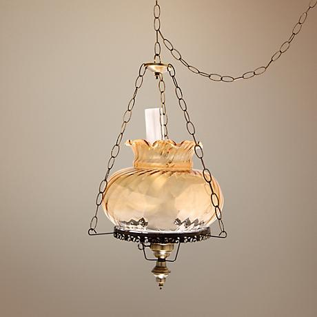 "Amber Swirl Traditional Student 17"" Wide Swag Chandelier"