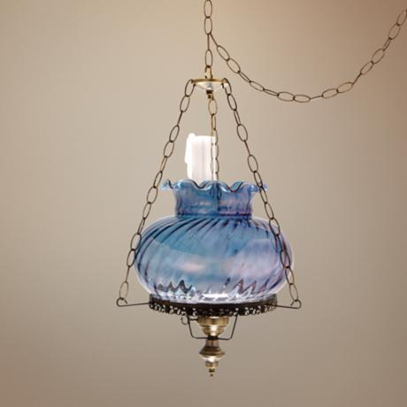 "Blue Swirl Tamoshanta 17"" Wide Plug-in Style Swag Chandelier"