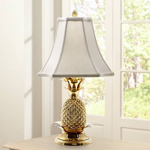 Tropical Brass White Shade Pineapple Table Lamp J8860