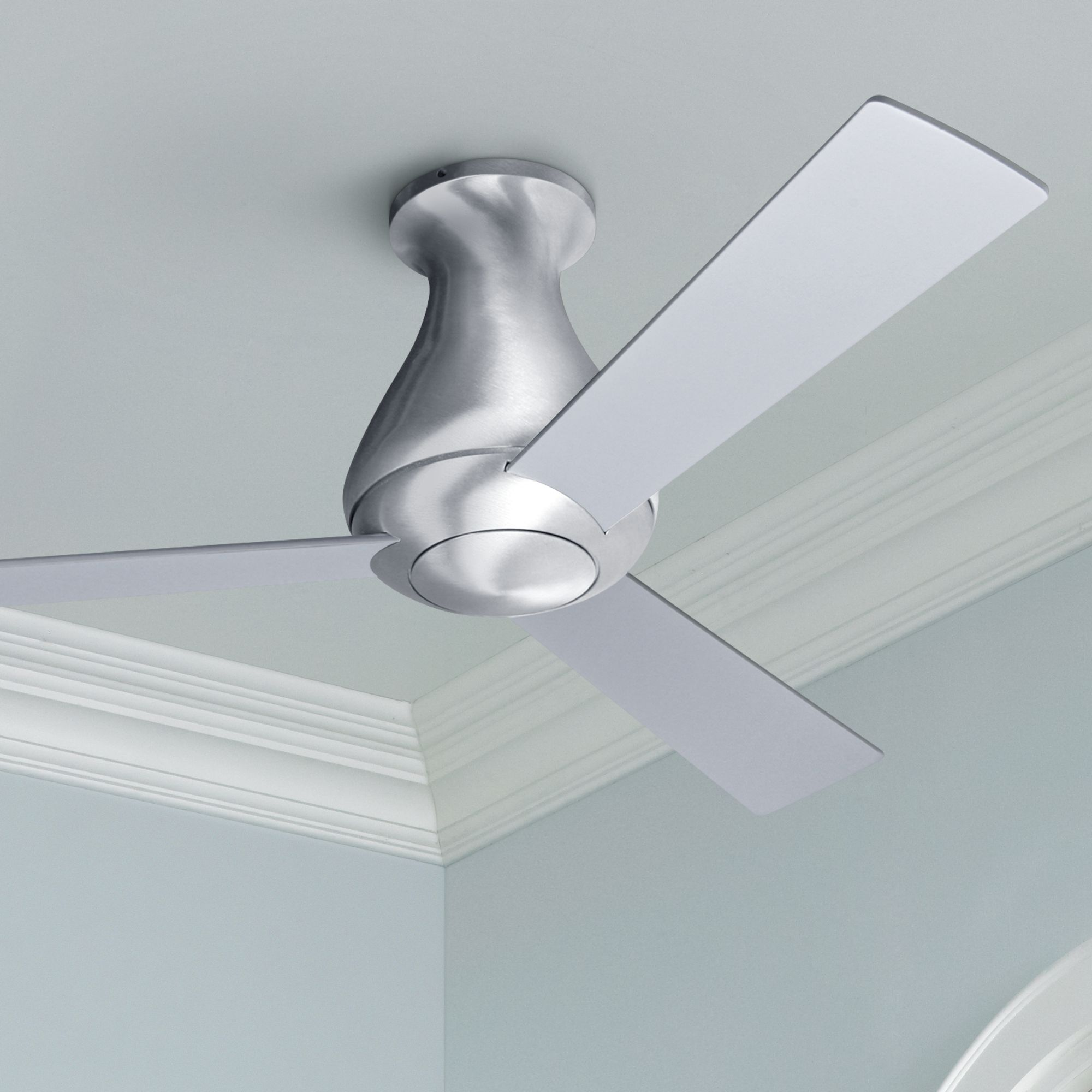 42 Modern Fan Altus Aluminum Finish Flush Mount Ceiling Fan