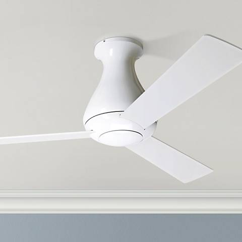 "42"" Modern Fan Altus Gloss White Flush Mount Ceiling Fan"