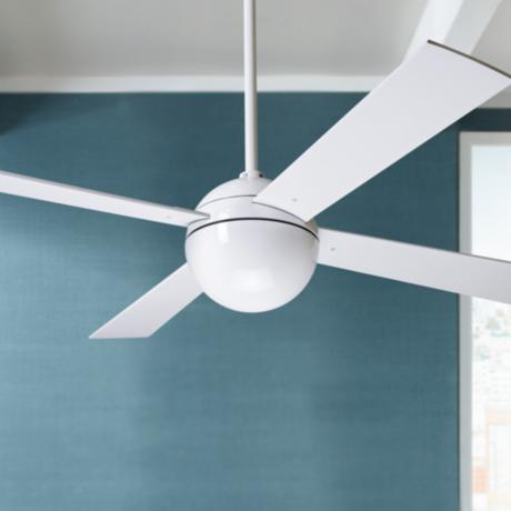 "42"" Modern Fan Gloss White Ball Ceiling Fan"