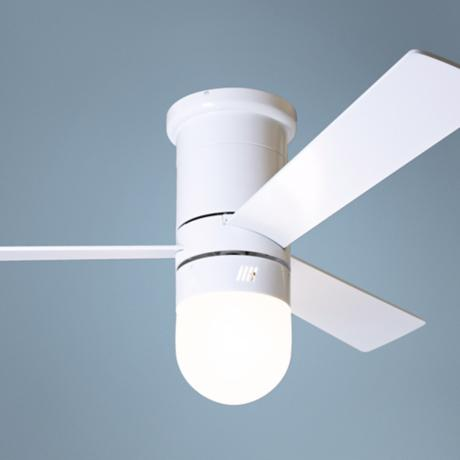 "42"" Modern Fan Cirrus Light Gloss White Hugger Ceiling Fan"
