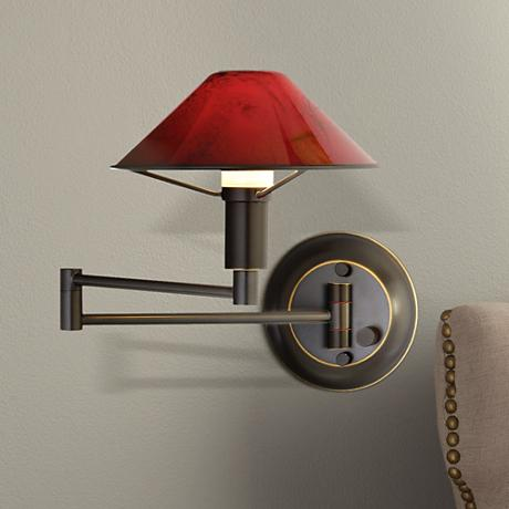 Wall Lamps Bronze : Oil Rubbed Bronze Magma Red Glass Swing Arm Wall Lamp - #K0572 Lamps Plus