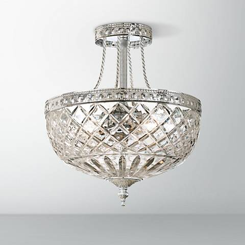 "Crystorama Majestic Chrome 12"" Wide Semiflush Ceiling Light"