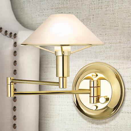 Polished Brass Alabaster White Glass Swing Arm Wall Lamp