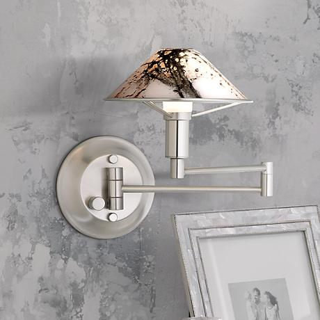 Satin Nickel Marbled Glass Swing Arm Lamp