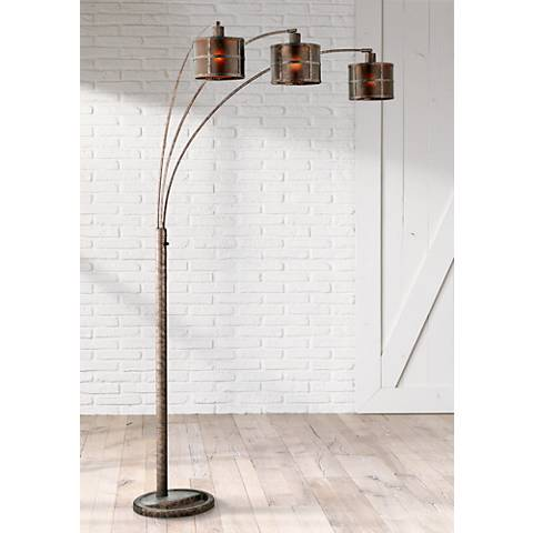 Three Light Arc Rust Floor Lamp K1116 Lamps Plus