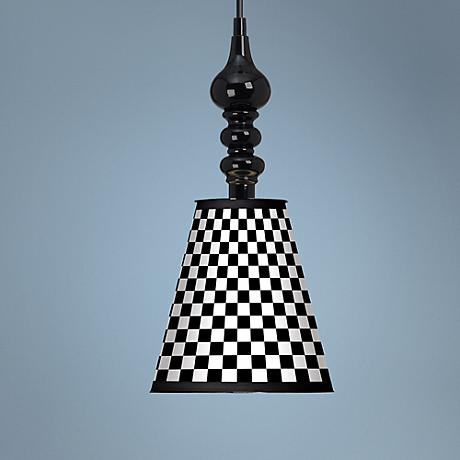"Checkered Black 7 1/2"" Wide Black Mini Pendant"