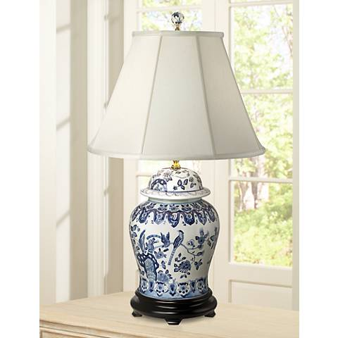 English Floral Hand-Painted Porcelain Ginger Jar Table Lamp