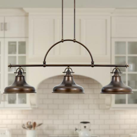 Emery Bronze Finish Rod Hung 3-Light Island Chandelier