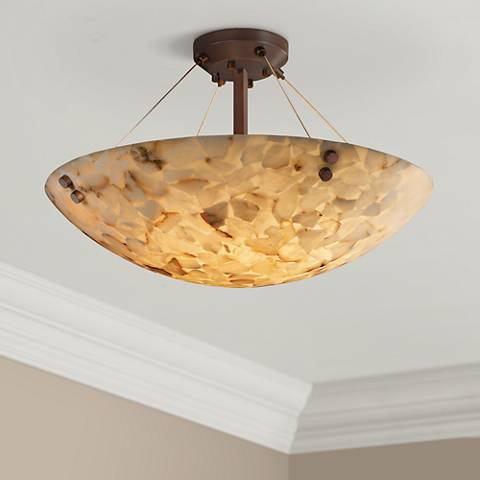 "Alabaster Rock Dark Bronze 18"" Wide Semiflush Ceiling Light"