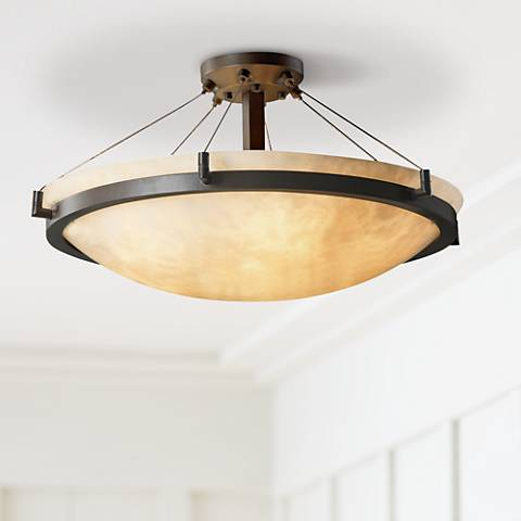 "Clouds Faux Stone Bronze Semiflush 27"" Wide Ceiling Light"