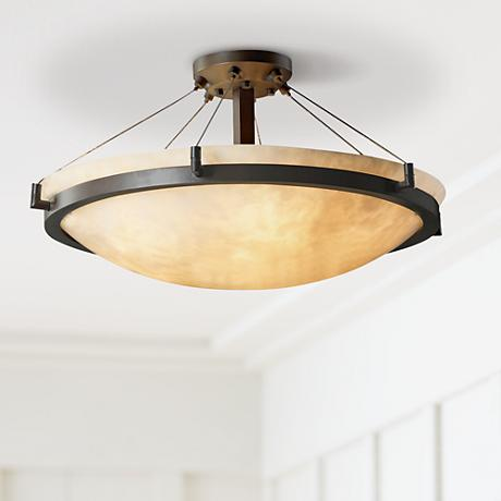 "Clouds Faux Stone Bronze Semiflush 24"" Wide Ceiling Light"