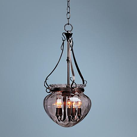 "Acharn 10 3/4"" Wide Ironwork Bronze Mini Pendant"