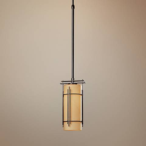 "Hubbardton Forge Dark Smoke Stone Glass 6"" Wide Mini Pendant"