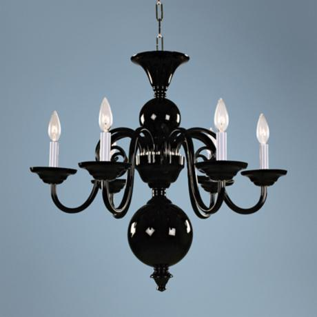 Bohemian Black Art Crystal 6-Light Chandelier