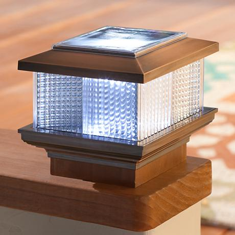 Copper Plated Solar Powered LED Post Cap Fence Light