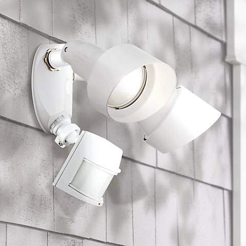"White 16"" 2-Light Motion Sensor Security Light"