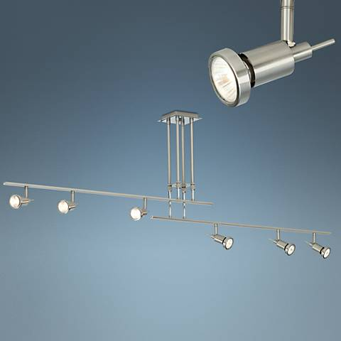 "Two Rail 64 1/4""W Adjustable 6-Light Halogen Ceiling Fixture"