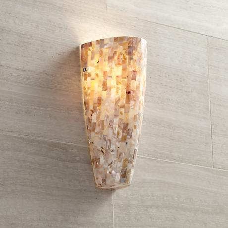 Possini Euro Design Mother of Pearl Mosaic Wall Sconce