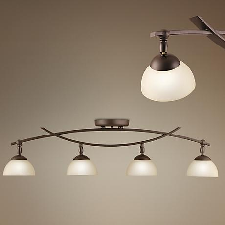 Bellamy Collection Bronze 4-Light Rail Ceiling Light