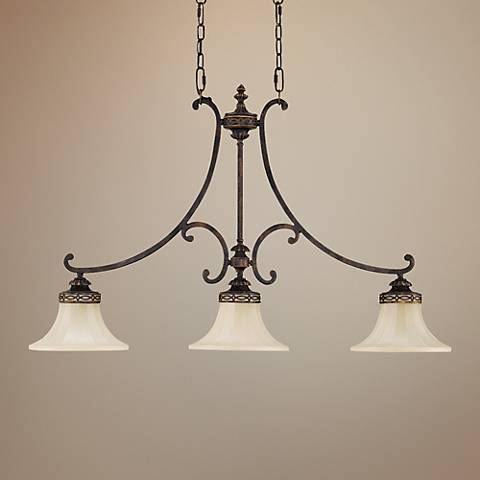 "Feiss Drawing Room 38""W Walnut 3-Light Island Chandelier"