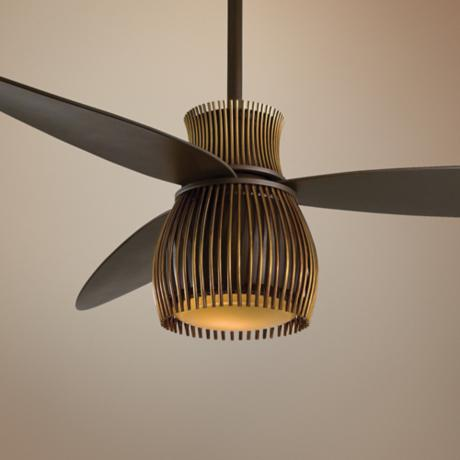 "56"" Minka Aire Uchiwa Bronze and Brass Finish Ceiling Fan"